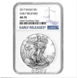 Lot of 10-2017 1 oz Silver American Eagle $1 Coin NGC MS 70 Early Releases