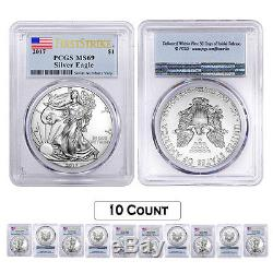 Lot of 10 2017 1 oz Silver American Eagle $1 Coin PCGS MS 69 First Strike Fla