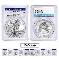 Lot of 10 2017-W 1 oz Silver American Eagle $1 Coin PCGS MS 69 First Strike W