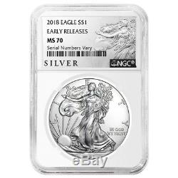 Lot of 10 2018 1 oz Silver American Eagle $1 Coin NGC MS 70 ER (Liberty Label)