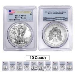 Lot of 10 2018 1 oz Silver American Eagle $1 Coin PCGS MS 70 FS (Flag Label)