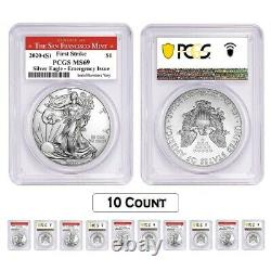 Lot of 10-2020 (S) 1 oz Silver American Eagle PCGS MS 69 FS (SF) Emergency Issue