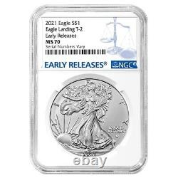 Lot of 10 2021 1 oz Silver American Eagle Type 2 NGC MS 70 ER