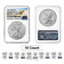 Lot of 10 2021 1 oz Silver American Eagle Type 2 NGC MS 70 ER (Eagle Label)