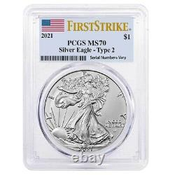 Lot of 10 2021 1 oz Silver American Eagle Type 2 PCGS MS 70 FS (Flag Label)