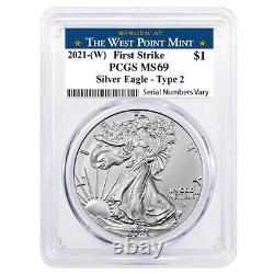 Lot of 10 2021 (W) 1 oz Silver American Eagle Type 2 PCGS MS 69 FS West Point