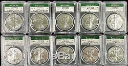 Lot of 10 x 2020 P Emergency Issue American Silver Eagle First Strike PCGS MS 70
