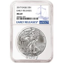 Lot of 100 2017 $1 American Silver Eagle NGC MS69 Early Releases Blue ER Label
