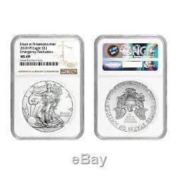 Lot of 2 2020 (P) 1 oz Silver American Eagle NGC MS 69 Emergency Production
