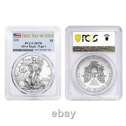 Lot of 2 2021 1 oz Silver American Eagle $1 Coin PCGS MS 70 First Day of Issue