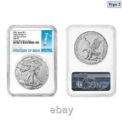 Lot of 2 2021 1 oz Silver American Eagle Type 2 NGC MS 70 FDOI