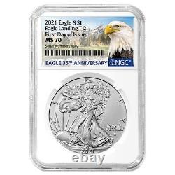 Lot of 2 2021 1 oz Silver American Eagle Type 2 NGC MS 70 FDOI (Eagle Label)