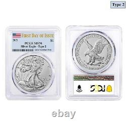 Lot of 2 2021 1 oz Silver American Eagle Type 2 PCGS MS 70 FDOI