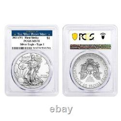 Lot of 2 2021 (W) 1 oz Silver American Eagle $1 Coin PCGS MS 70 FS West Point