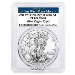 Lot of 2 2021 (W) 1 oz Silver American Eagle Coin PCGS MS 70 FDOI West Point