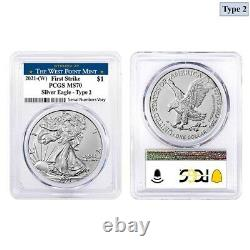 Lot of 2 2021 (W) 1 oz Silver American Eagle Type 2 PCGS MS 70 FS (West Point)
