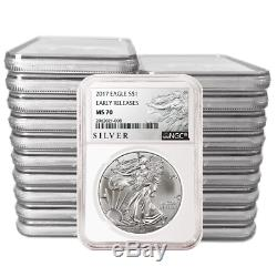Lot of 20 2017 $1 American Silver Eagle NGC MS70 Early Releases ALS ER Label