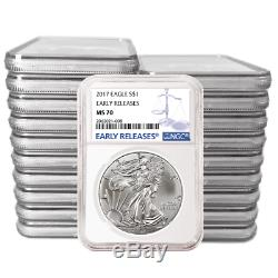 Lot of 20 2017 $1 American Silver Eagle NGC MS70 Early Releases Blue ER Label