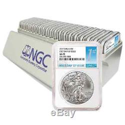 Lot of 20 2017 $1 American Silver Eagle NGC MS70 FDI First Label with NGC Storag