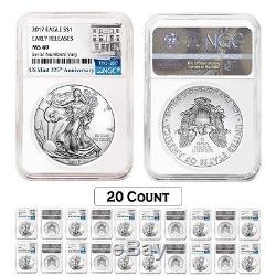 Lot of 20 2017 1 oz Silver American Eagle $1 Coin NGC MS 69 Early Releases 22