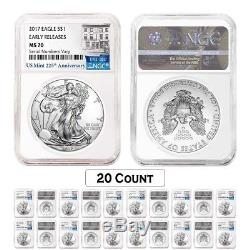 Lot of 20 2017 1 oz Silver American Eagle $1 Coin NGC MS 70 Early Releases