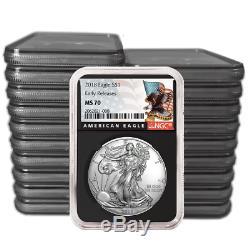 Lot of 20 2018 $1 American Silver Eagle NGC MS70 Black ER Label Retro Core
