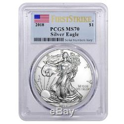 Lot of 20 2018 1 oz Silver American Eagle $1 Coin PCGS MS 70 First Strike