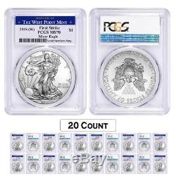 Lot of 20 2018 (W) 1 oz Silver American Eagle $1 Coin PCGS MS 70 FS West Point