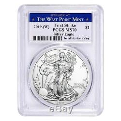 Lot of 20 2019 (W) 1 oz Silver American Eagle $1 PCGS MS 70 FS (West Point)