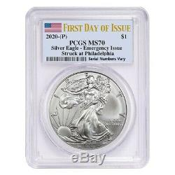 Lot of 20 2020 (P) 1 oz Silver American Eagle PCGS MS 70 FDOI Emergency Issue