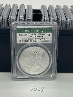 Lot of 20 2020 (P) American Silver Eagle PCGS MS69 Emergency Philadelphia FDOI