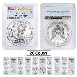Lot of 20 2021 1 oz Silver American Eagle $1 Coin PCGS MS 70 First Strike Flag