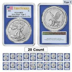 Lot of 20 2021 1 oz Silver American Eagle Type 2 PCGS MS 70 FS (Blue Frame)