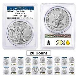 Lot of 20 2021 (W) 1 oz Silver American Eagle Type 2 PCGS MS 70 FS West Point