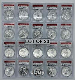 Lot of 20 Coins- 2020 S American Silver Eagle PCGS MS70 Emergency San Francisco
