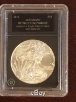 Lot of 2016 American Silver Eagles. Proof, PCGS MS 70 30th Ann. And Authentic