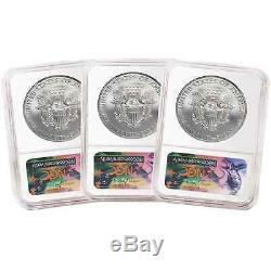 Lot of 3 2017 $1 American Silver Eagle NGC MS70 Early Releases 225th Ann. ER L