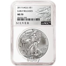 Lot of 3 2017 $1 American Silver Eagle NGC MS70 Early Releases ALS ER Label