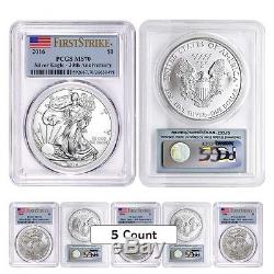 Lot of 5 2016 1 oz Silver American Eagle $1 Coin PCGS MS 70 First Strike 30t
