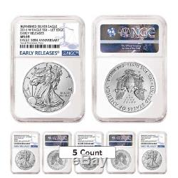 Lot of 5 2016-W 1 oz Burnished Silver American Eagle NGC MS 69 Early Releases