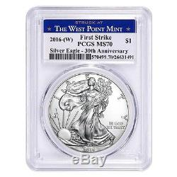 Lot of 5 2016-W 1 oz Silver American Eagle $1 Coin PCGS MS 70 First Strike Wes