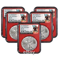 Lot of 5 2017 $1 American Silver Eagle NGC MS70 Early Releases Black ER Label