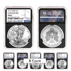 Lot of 5 2017 1 oz Silver American Eagle $1 Coin NGC MS 69 Early Releases Ret