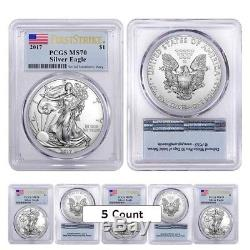 Lot of 5 2017 1 oz Silver American Eagle $1 Coin PCGS MS 70 First Strike Flag