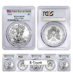 Lot of 5 2018 1 oz Silver American Eagle $1 Coin PCGS MS 70 First Day of Issue