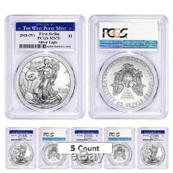 Lot of 5 2018 (W) 1 oz Silver American Eagle $1 Coin PCGS MS 70 FS West Point