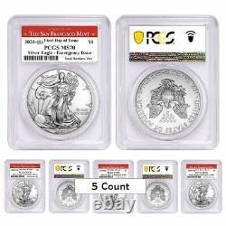 Lot of 5-2020 (S) 1 oz Silver American Eagle PCGS MS 70 FDOI SF Emergency Issue