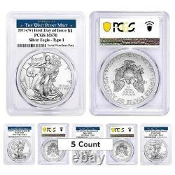 Lot of 5 2021 (W) 1 oz Silver American Eagle Coin PCGS MS 70 FDOI West Point