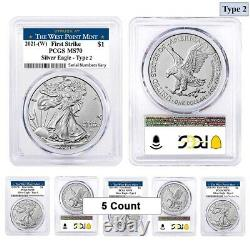 Lot of 5 2021 (W) 1 oz Silver American Eagle Type 2 PCGS MS 70 FS (West Point)