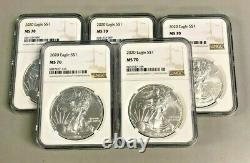 Lot of 5 Silver 2020 MS 70 American Eagle 1 oz. Brown Label. 999 fine NGC Coins